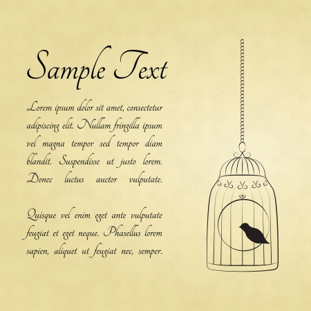 Bird in a cage card with a space for text Vector