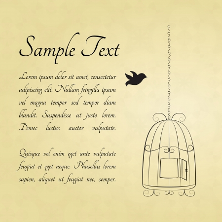 bird cage: Bird in a cage card with a space for text Illustration