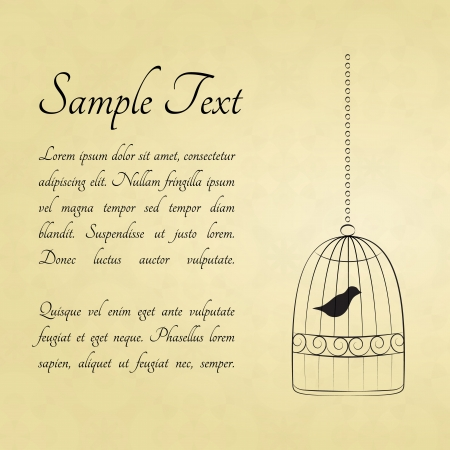 Bird in a cage card with a space for text Stock Vector - 14000317