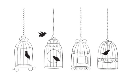 Collection of bird cages with birds isolated on white background