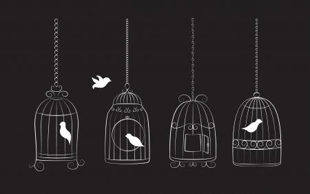 dessin au trait: Collection des cages d'oiseaux avec les oiseaux isolé sur fond noir Illustration