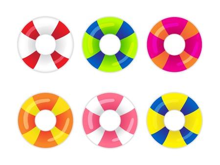 Colección de anillos de seguridad sobre un fondo blanco Ilustración de vector