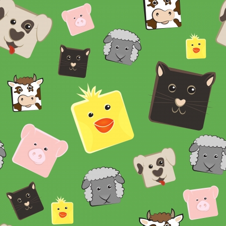 Seamless pattern with squared farm animals Vector