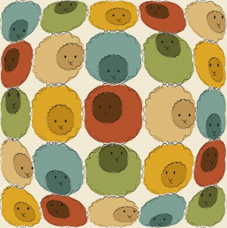 Abstract background with cute sheeps on it Vector