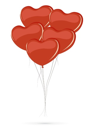 wad: Bunch of heart shaped balloons isolated on white background Illustration
