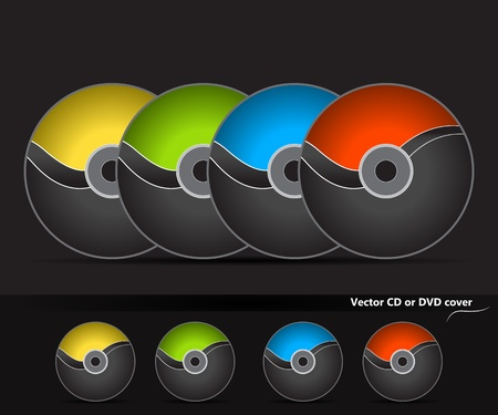 Collection of vector CD or DVD cover desing with wave in four different colours. Dark version. Vector