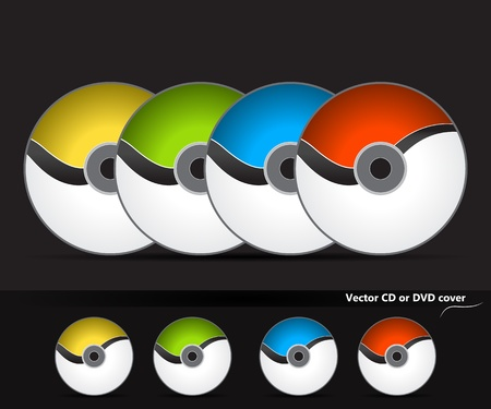dvd cover: Collection of vector CD or DVD cover desing with wave in four different colours. Light version.