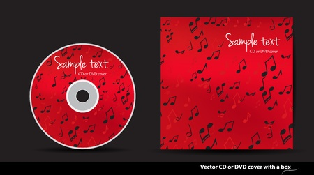 Red music vector CD or DVD cover design with notes Vector
