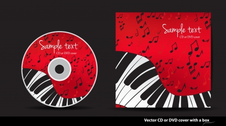 Red music vector CD or DVD cover design with piano and notes