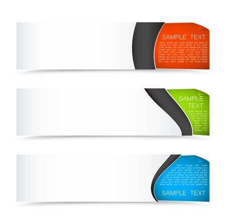 Set of colourful horizontal banners on a light background with curled corner