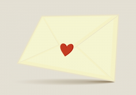 long distance: Love letter sent in an envelope with heart on i