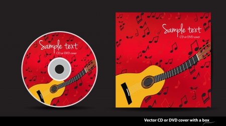 Red music vector CD or DVD cover design with guitar and notes Stock Vector - 14172570