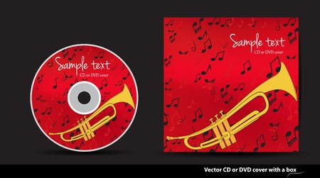 Red music vector CD or DVD cover design with trumpet and notes Stock Vector - 14172572