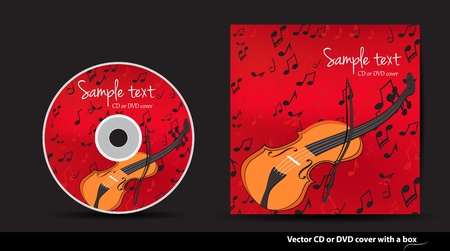 Red music vector CD or DVD cover design with violin and notes Stock Vector - 14172569