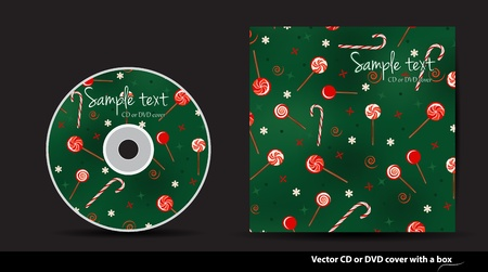 Green Christmas  vector CD or DVD cover design with lollipops Vector