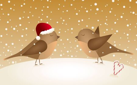 candycane: Vector retro snowy Christmas background with two birds in love Illustration