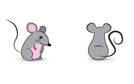 mouse animal: Cute mouses characters isolated on a white background Illustration