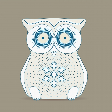 apt: Cute retro owl on a grey background