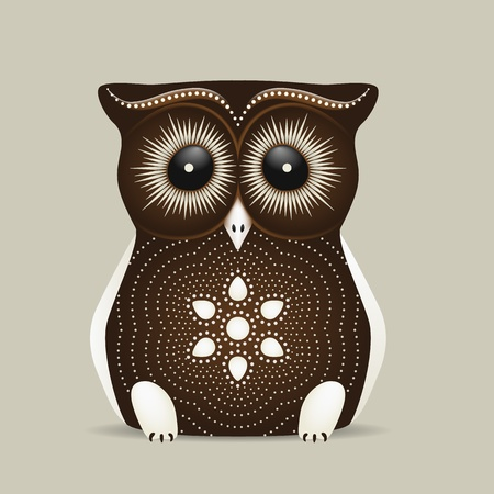 apt: Cute brown owl with big eyes on a grey background