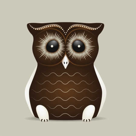 Cute brown owl with big eyes on a grey background Stock Vector - 14172579