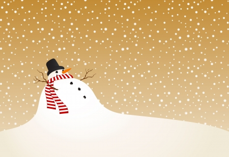 Winter vector landscape with a snowman in retro style Stock Vector - 14172583