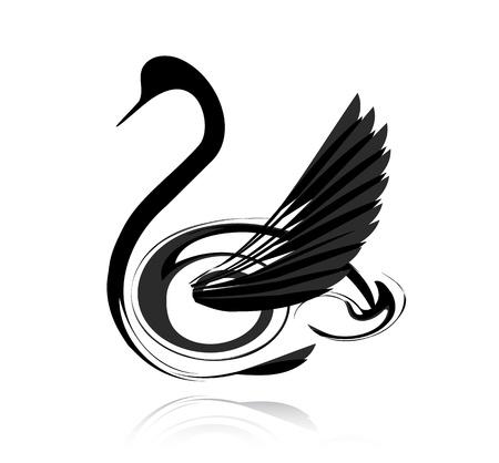 安らぎ: 白い背景で隔離された抽象的なベクトル ブラック スワン