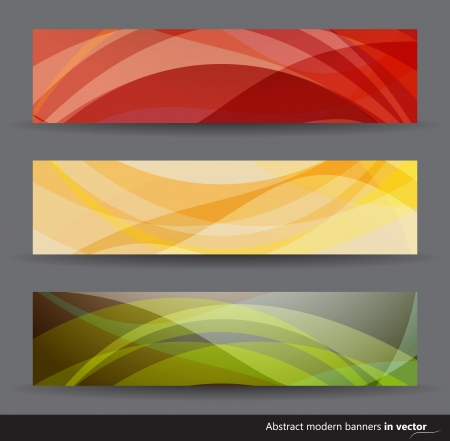 banner ads: Collection of modern abstract horizontal banners in different colors
