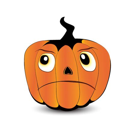 Pumpkin face with unsatisfied expression isolated on white background Vector