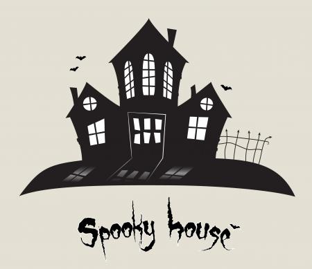Scary spookachtige huis, Halloween thema Vector Illustratie