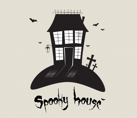 Scary spooky house, Halloween theme  Vector