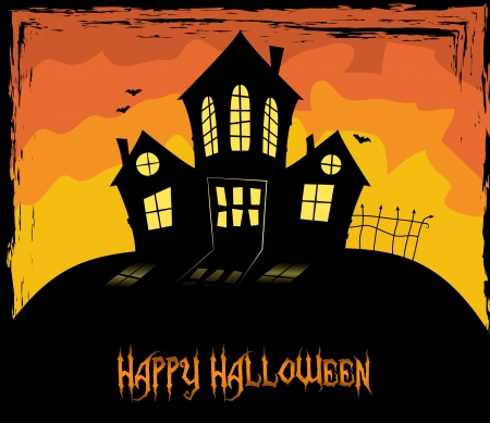 spooky house: Colorful Halloween them with a scary house Illustration