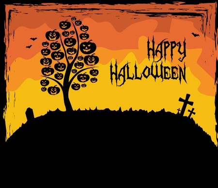 Halloween theme with a tree made of pumpkins Stock Vector - 15062885