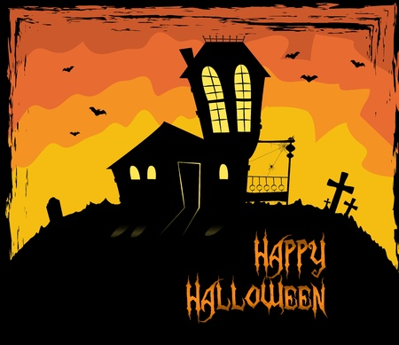Colorful Halloween them with a scary house Stock Vector - 15062854