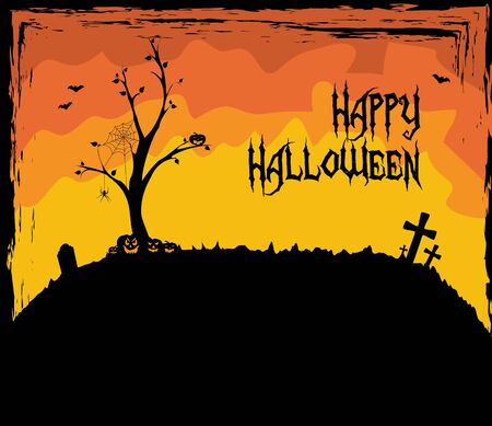 Halloween theme with a leafless tree Vector