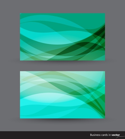 green coupon: Two business cards in green and blue shades