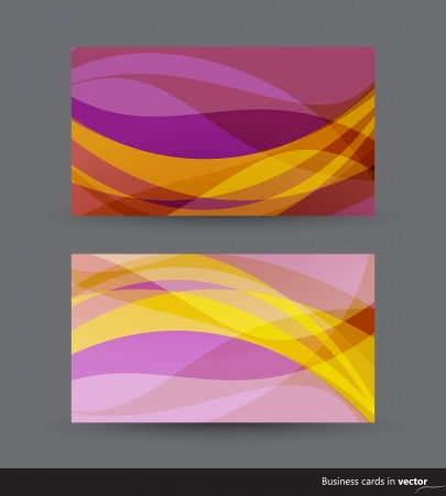 Two business cards in pink and yellow shades Vector