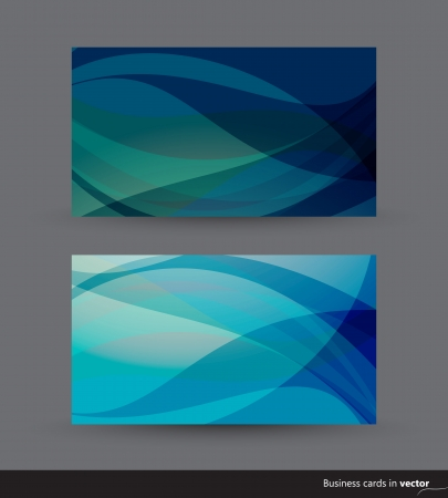 Two business cards in blue shades
