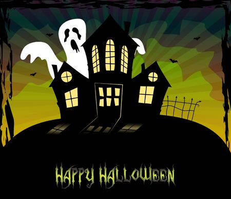 Halloween theme with a scary house and a ghost standing behind Vector