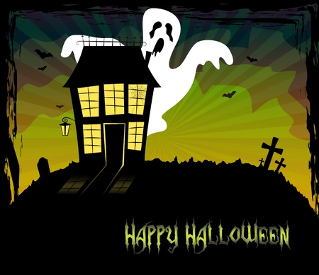 traditional house: Halloween theme with a scary house and a ghost standing behind