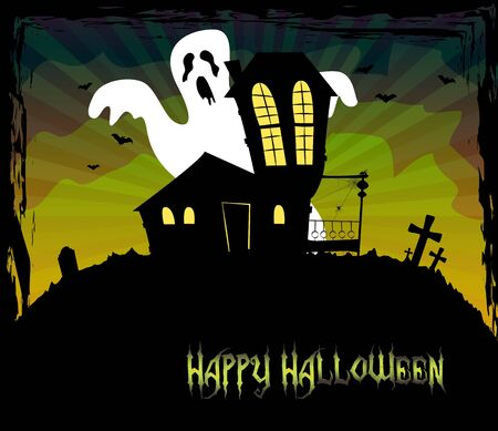 Halloween theme with a scary house and a ghost standing behind Stock Vector - 15062941