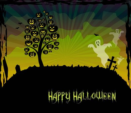 Halloween theme card with a pumpkin tree and ghosts Stock Vector - 15062932