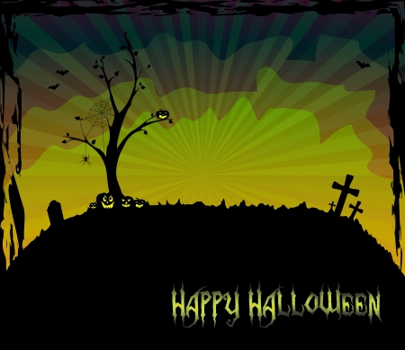 Halloween theme card with a leafless tree Stock Vector - 15062919