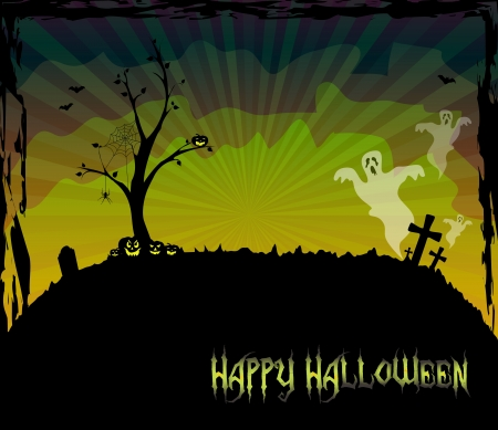 Halloween theme card with a leafless tree and ghosts Stock Vector - 15062930