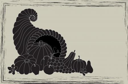 harvest cone cornucopia: Thanksgiving card with cornucopia full of food