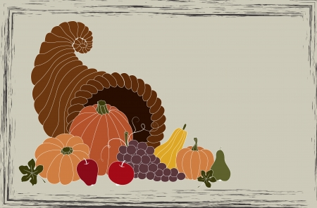 Thanksgiving card with cornucopia full of food Vector