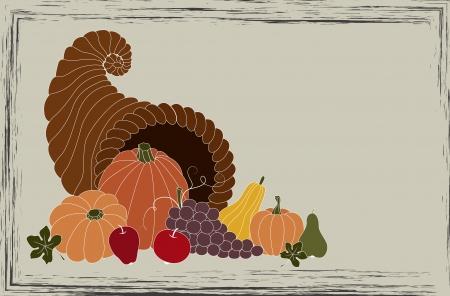 cornucopia: Thanksgiving card with cornucopia full of food