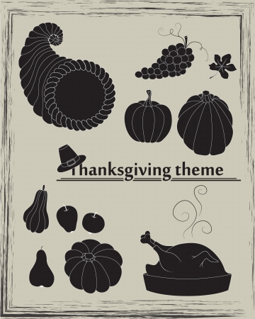 Collection of pumpkins, pears, apples, grapes, cornucopia, turkey and pilgrim Vector