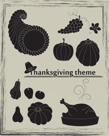 roast turkey: Collection of pumpkins, pears, apples, grapes, cornucopia, turkey and pilgrim