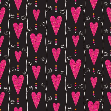 never ending: Seamless retro pattern with pink hearts on dark background