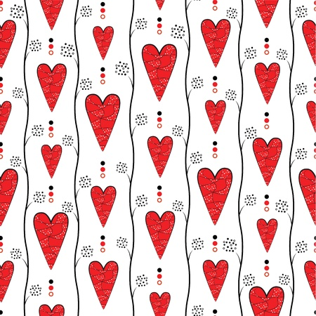 never ending: Seamless retro pattern with red hearts on white background   Illustration